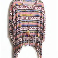070610 Bohemian tassel striped short-sleeved