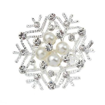 New Fashion Korean Diamond Snowflake Pearl Brooch Pin Corsage Jewelry WH