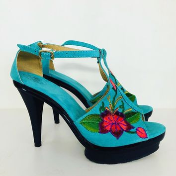 Mexican Embroidered High Heels Turquoise