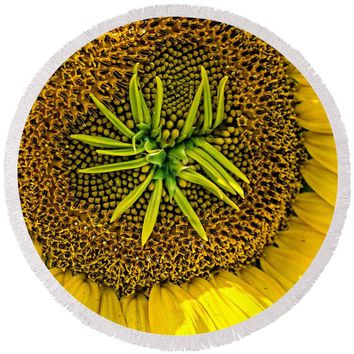Alien Sunflower - Round Beach Towel