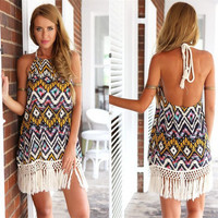 SIMPLE - Popular Women's Fashionable Floral Halter Neck Tassel Retro Tribal Ethic Casual Spaghetti Strap Sleeveless Backless Chiffon Party Beach Summer Mini One Piece Dress b3031