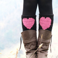 Black Pink Short Heart Knit Boot Cuffs Love Heart by EmofoFashion