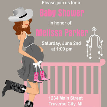 Cowgirl Baby Shower Invitations - Western Crib Theme - Available in African American