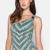 Coco Reef 'Kenya Zigzag' One-Shoulder Tankini Top