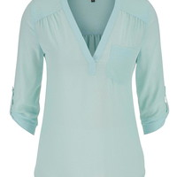 the perfect blouse with textured dot stitching in mint