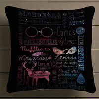 Harry Potter Spells Collage galaxy nebula Square Pillow Case Custom Zippered Pillow Case one side and two side
