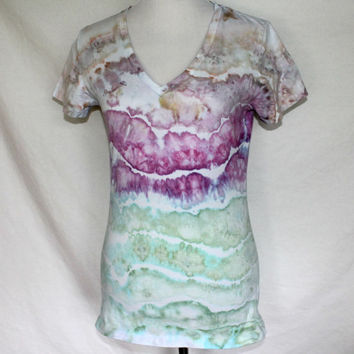 Womens Tie Dye Shirt in Purple, Green, and Taupe, Ladies dyed T-Shirt, Tie Dye Womens Size Large, Size L