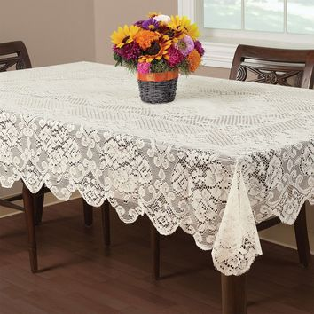 Vintage Style 150*255cm Ivory Lace Tablecloth Cover Sewing Fabric DIY Material Wedding Decoration