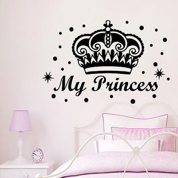 Wall Decals My Princess Crown Decal Nursery Girl Room Decor Vinyl Sticker MR452