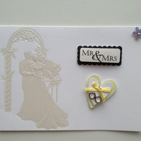 Blank Handmade Wedding Mini Greeting Card or Response Card