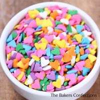 Girls Rainbow Heart Sprinkles, Rainbow Part Sprinkles, Heart Sprinkles for Cupcakes (medium jar 2 oz)