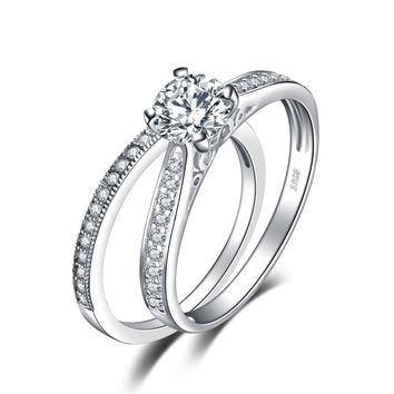 Jewelry 1.3ct Cubic Zirconia Anniversary Wedding Band Engagement Solitaire Ring Bridal Sets 925 Sterling Silver