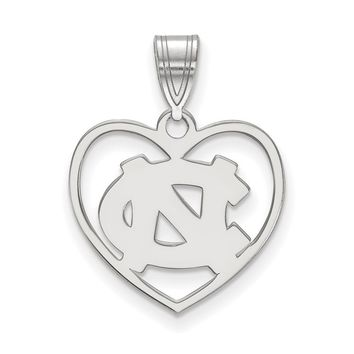 NCAA Sterling Silver North Carolina Heart Pendant Necklace