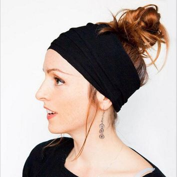 a2fa7317029 New female fashion fold headband Wide Cotton Stretch Elastic Sport Women  Headband Hair Accessories Turban Headwear