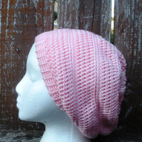 Pretty Pink Crochet Slouchy Tam Beanie Hat, MADE TO ORDER.