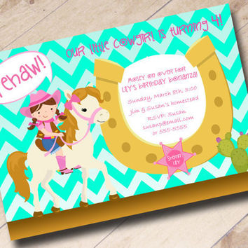 Little Cowgirl Aqua Chevron Birthday Invitation