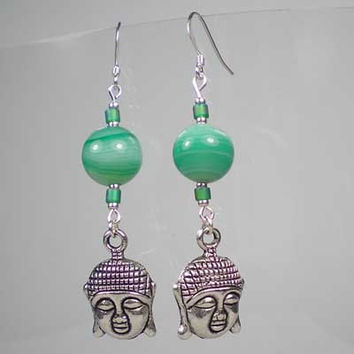 Green Polished Agate Drop Buddha Earrings, Semi Precious Stone, Tibetan Silver Charm Inspirational Yoga Buddhist Jewellery UK Handmade 10039
