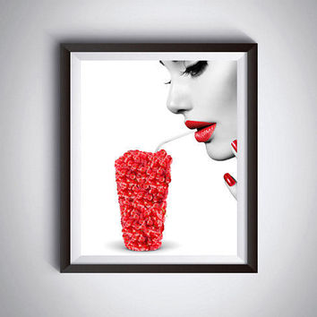 Cranberries art Kitchen decor Fruits print Cranberry glass Cranberries poster Red lips Red nails Modern wall decor Cranberries card Fine art