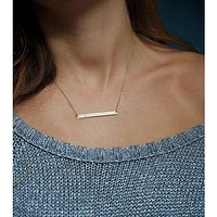Chic Gold Minimalist Bar Necklace