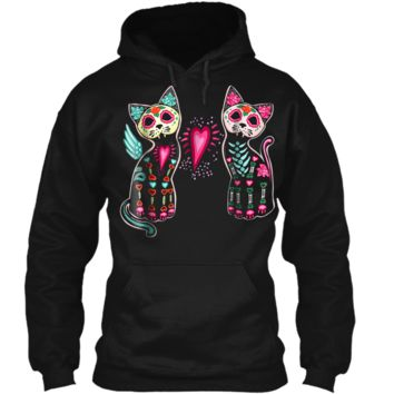 Day of Dead Sugar Cats Skeleton Skull  Pullover Hoodie 8 oz