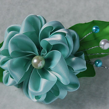 Kanzashi flower ,Dalia satin flower , french barrette , aqua flower hair accessory