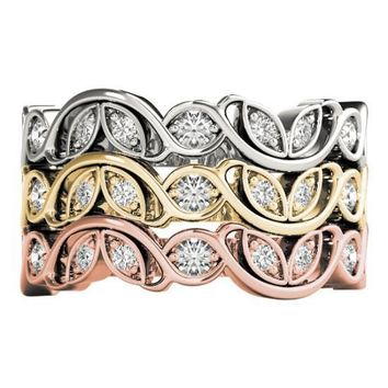 Stackables 3/4 Eternity Tri-Tone Gold 3-Band Set