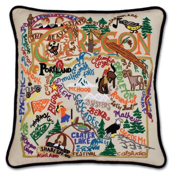 Oregon Hand Embroidered Pillow