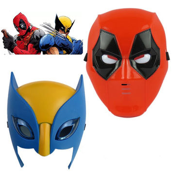 Marvel Movie Deadpool costume mask cosplay for kids2016 New X-man deadpool  Wolverine Light Mask Performing props Halloween Gift 80's hwd