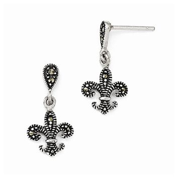 Sterling Silver Marcasite Fleur De Lis Dangle Post Earrings