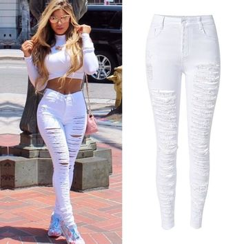 Hot Style Women High Waist White Denim Pants Woman Pencil Popular Street Stylish Personality Plus Size Ripped Holes Skinny Jeans