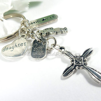 Cross Charm Silver Keychain, Cross Keychain, Christian Keychain, Charm Keychain, Religious Keychain, Gift for Daughter Key Chain Key Ring