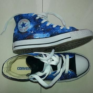 galaxy converse converse blue custom galaxy shoes women shoes high tops painting ga