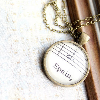 Spain necklace made with vintage sheet music under glass on long chain