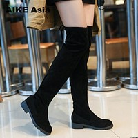 Winter Over The Knee Boots Women Stretch Fabric Women Thigh High Sexy Lace Up Woman Flat Shoes Long Boots