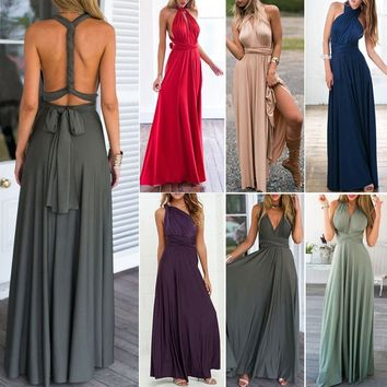 Women Convertible Maxi Long Dress Infinity Wrap Multi Way Wedding Bridesmaid