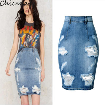 High Waist Ripped Split Frayed Women's Denim Jean Hobble Pencil Skirts Office Lady Bodycon Wrap Skirts Chicanary