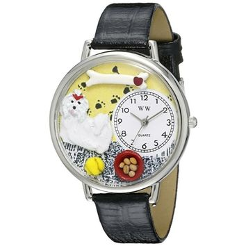 SheilaShrubs.com: Unisex Maltese Black Skin Leather Watch U-0130051 by Whimsical Watches: Watches