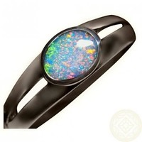 Silver Opal Ring Bright Red Green Gem 925 Sterling
