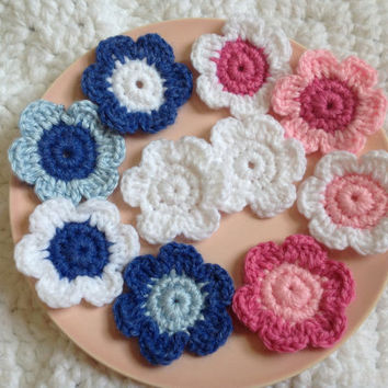 Crochet Flower Appliques Embellishments Set of 10 Gender Reveal Themed Snow White, Princess Pink, Bubblegum Pink, Heather Blue, and Boy Blue