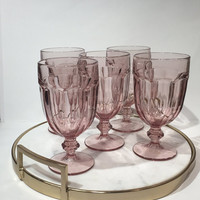 Pink Libbey Duratuff Goblets Set of 5, Plum Pink Wine Glasses, Vintage Glass Goblets