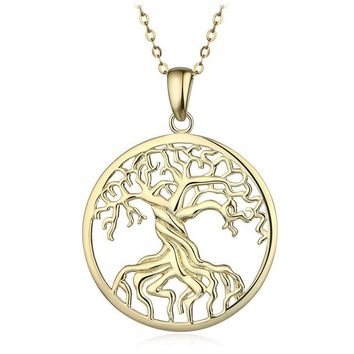 Pure 925 Sterling Silver Tree of Life Pendant Necklaces Memory Locket Charm Necklace For Women