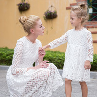 Mommy & Me Matching European Lace Dresses - Blk & Wht