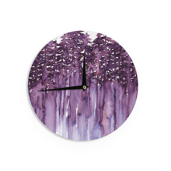"Ebi Emporium ""Forest Through The Trees 2"" Purple White Wall Clock"