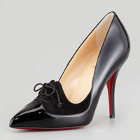 Queue de Pie Patent-Suede Red Sole Pump, Black