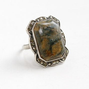 Antique Art Deco Green Brown Stone & Marcasite Ring- Vintage Size 5 1/2 Sterling Silver 1920s 1930s Filigree Etched Hallmarked Uncas Jewelry