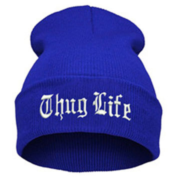 THUG LIFE Letter Embroidered Unisex Beanie Fashion 2pac Hip Hop Mens & Womens Knitted Blue & White Tupac Cuffed Skully Hat