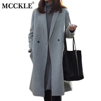 MCCKLE Women's Winter Wool Blend Coats 2017 High Quality Overcoat  Women Vintage Cotton Medium-long Female Wool Coat