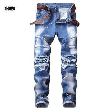 Idopy Men`s Designer Biker jeans Painting Ripped Personality Motorcycle Casual Denim Joggers Pants For Hipster