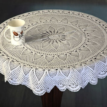 Valentine CROCHET TABLECLOTH - Exquisite Handmade Crochet Table Cloth-- Original PineApple Design- Wedding Decor, Home Decor and Gifts