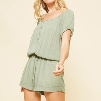 Crinkled Fabric Button Down Romper